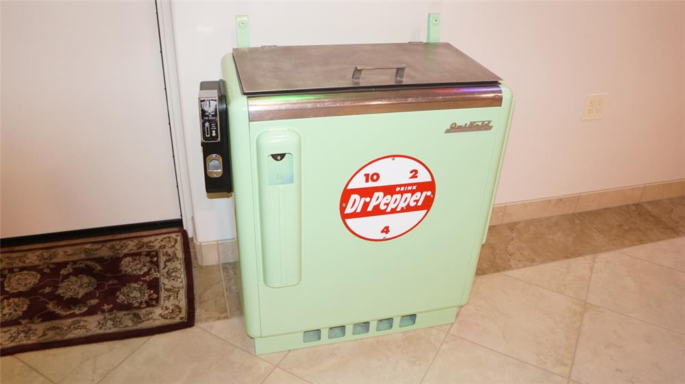 1950's Dr. Pepper Quikold ten cent coin-operated slider soda machine. - Front 3/4 - 179406