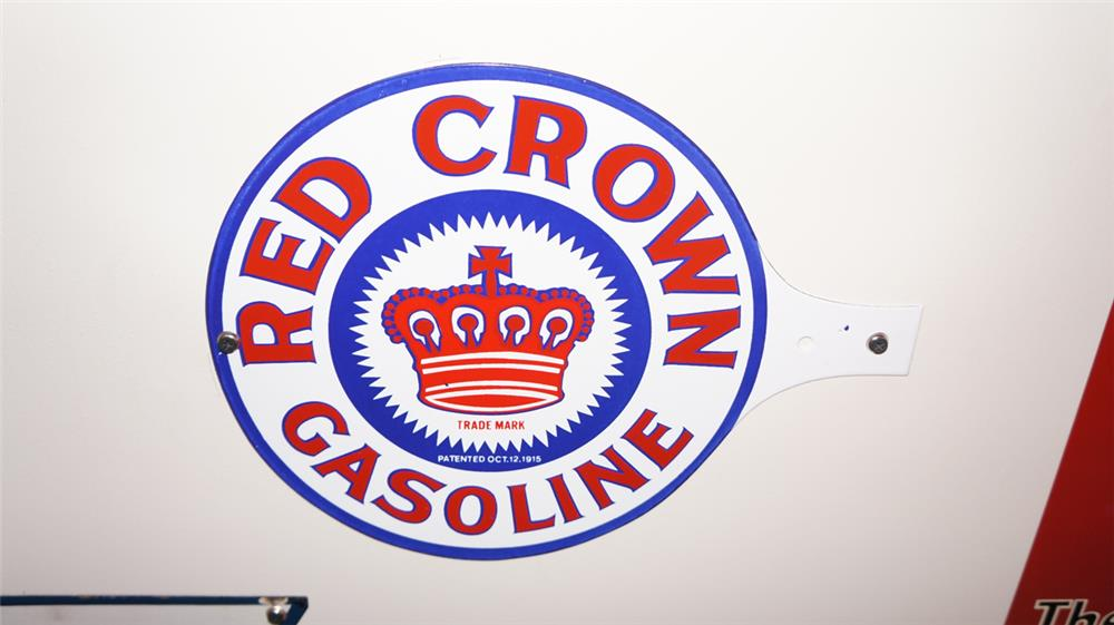 """N.O.S. 1915 Red Crown Gasoline double-sided porcelain gas pump """"paddle"""" sign. - Front 3/4 - 179422"""