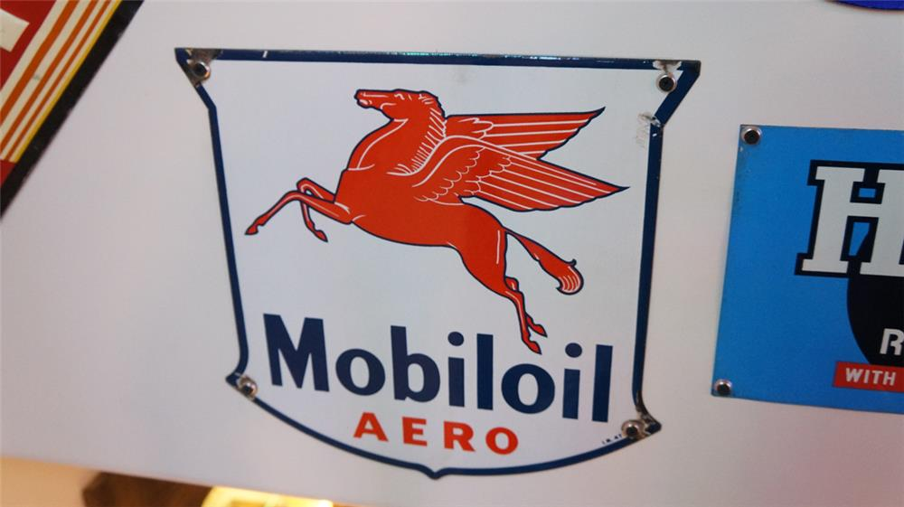1947 Mobil Oil Aero porcelain pump plate shield shaped sign - Front 3/4 - 179424
