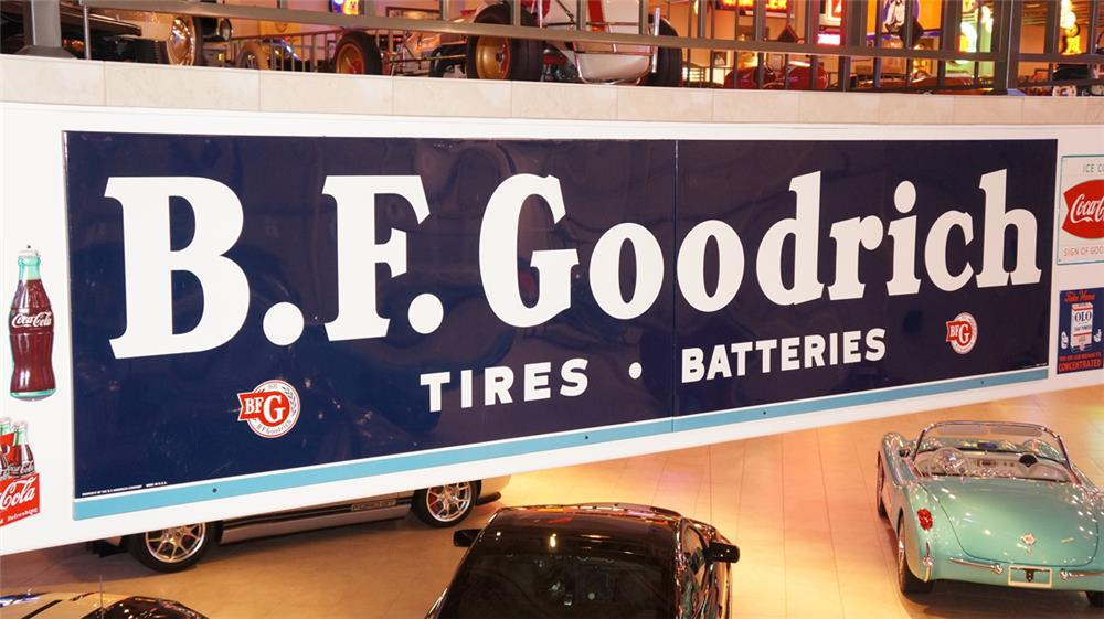 Large two piece N.O.S. 1951 B.F. Goodrich Tires-Batteries single-sided tin garage sign. - Front 3/4 - 179428