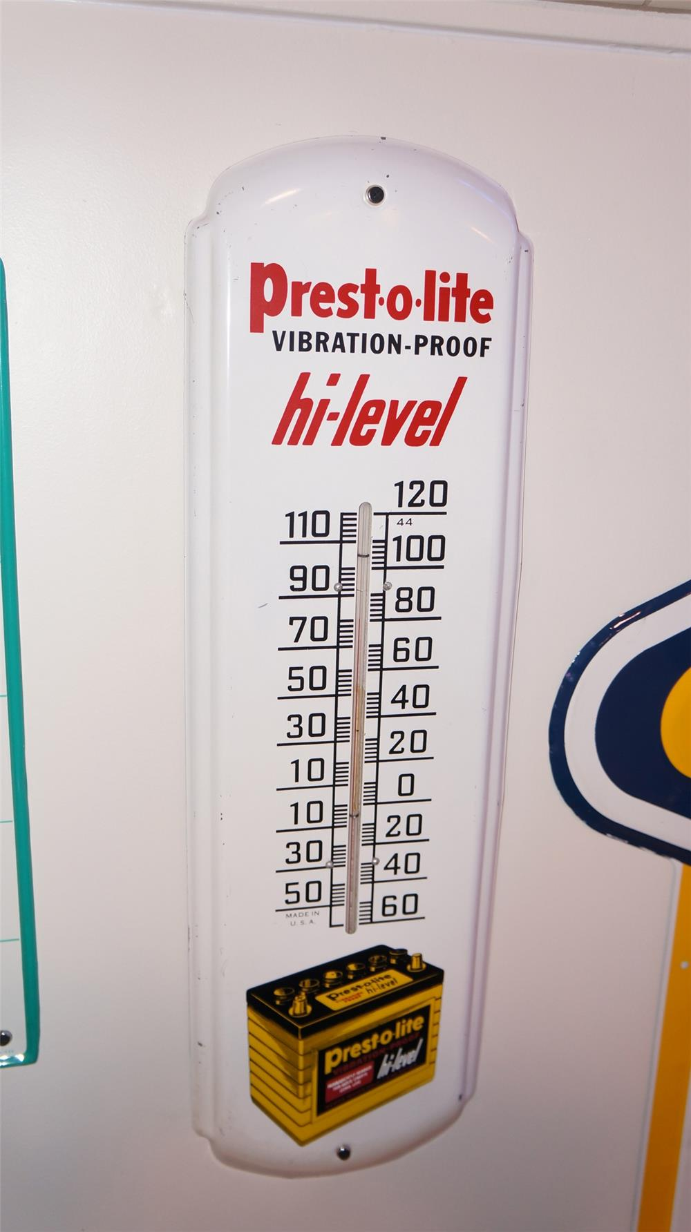 1950's Prest-o-lite Batteries single-sided tin automotive garage thermometer - Front 3/4 - 179439