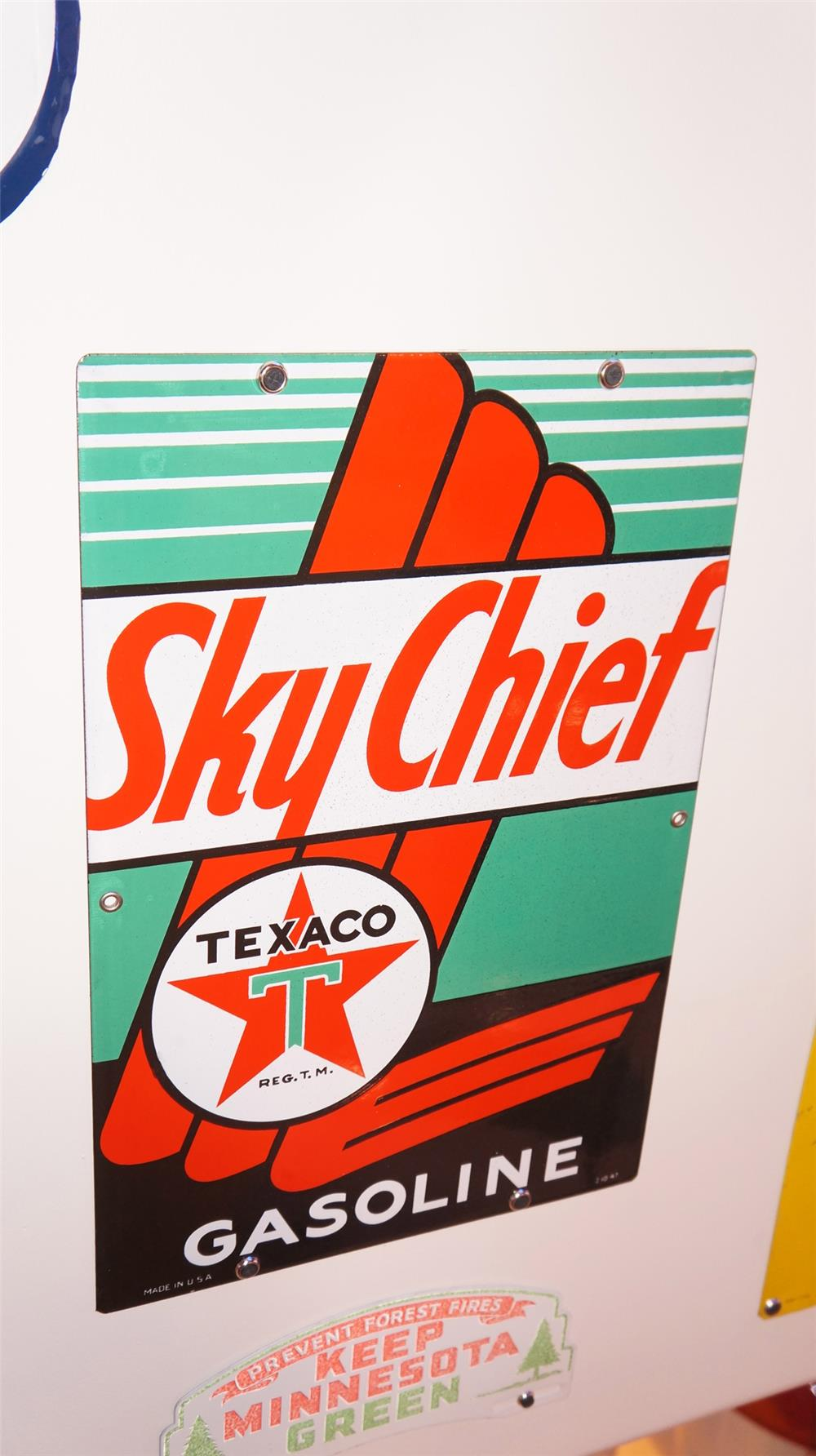 N.O.S. 1947 Texaco Sky Chief Gasoline single-sided porcelain pump plate sign. - Front 3/4 - 179443