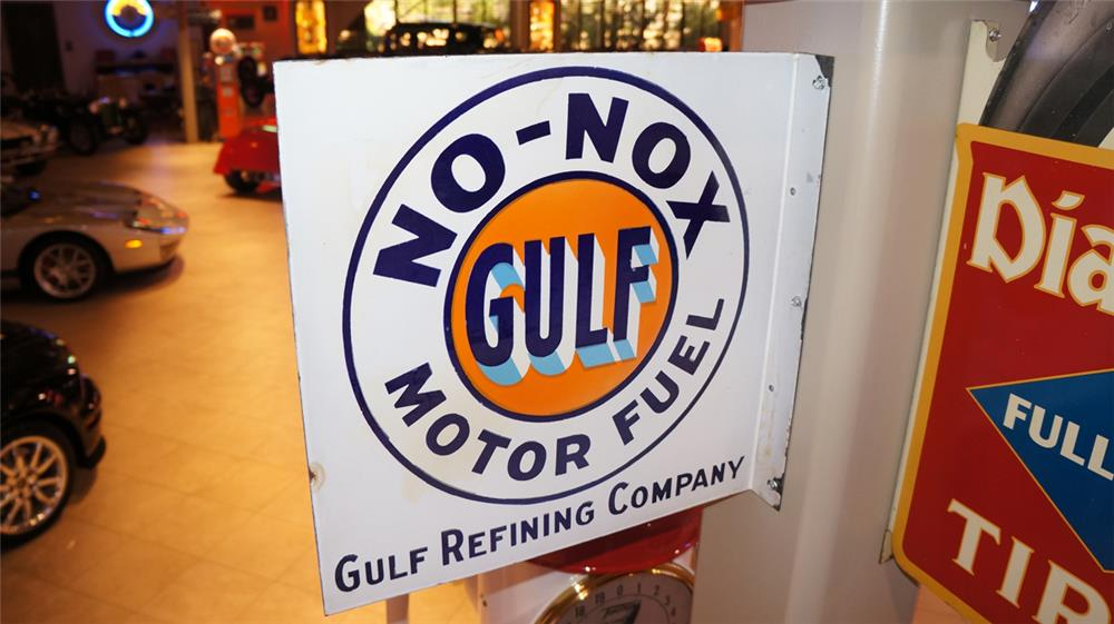 1930's Gulf No-No Motor Fuel double-sided porcelain service station sign. - Front 3/4 - 179448