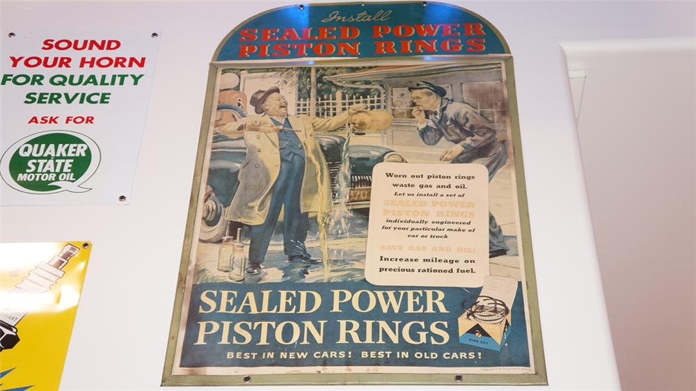 Rare late 1940's Sealed Power Piston Rings single-sided tin automotive garage display sign - Front 3/4 - 179450
