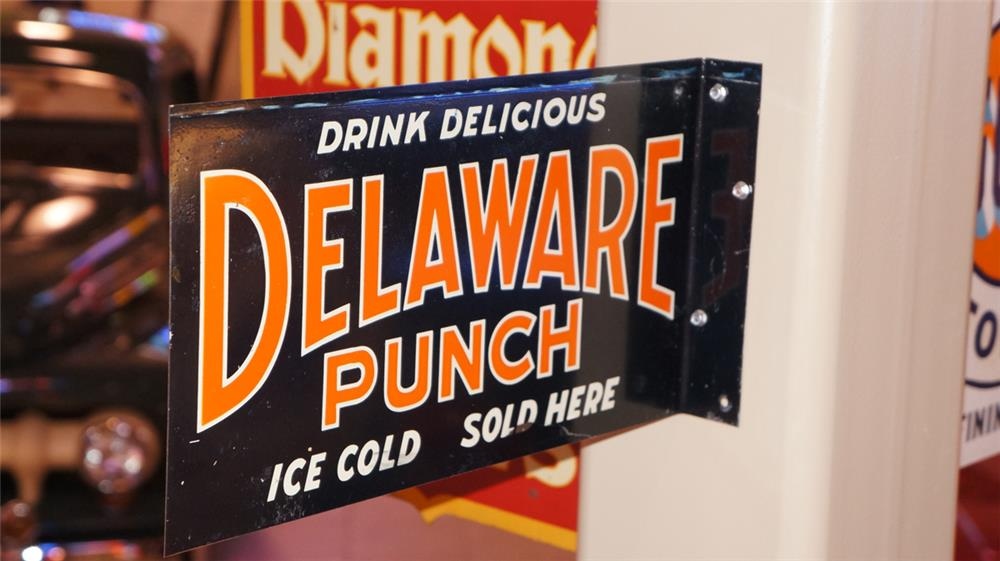N.O.S. 1920's Delaware Punch Soda double-sided tin flange sign - Front 3/4 - 179455