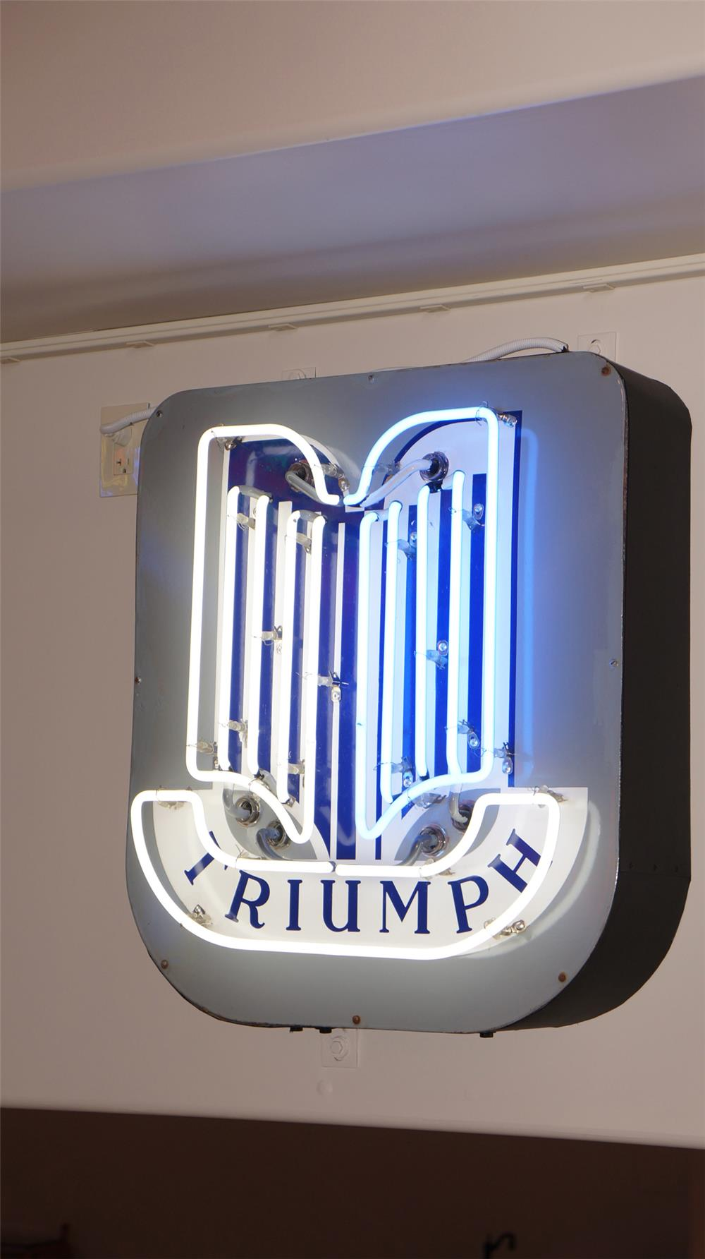 1950's Triumph Automobiles single-sided neon porcelain dealership sign. - Front 3/4 - 179457