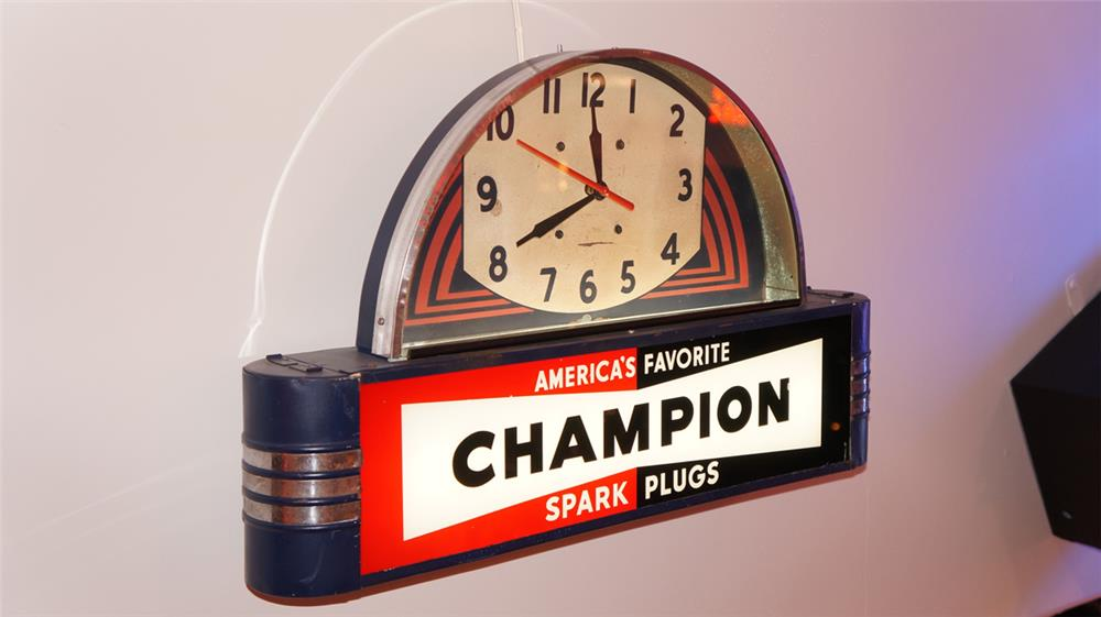 1930's Champion Spark Plugs light-up garage clock/sign - Front 3/4 - 179461
