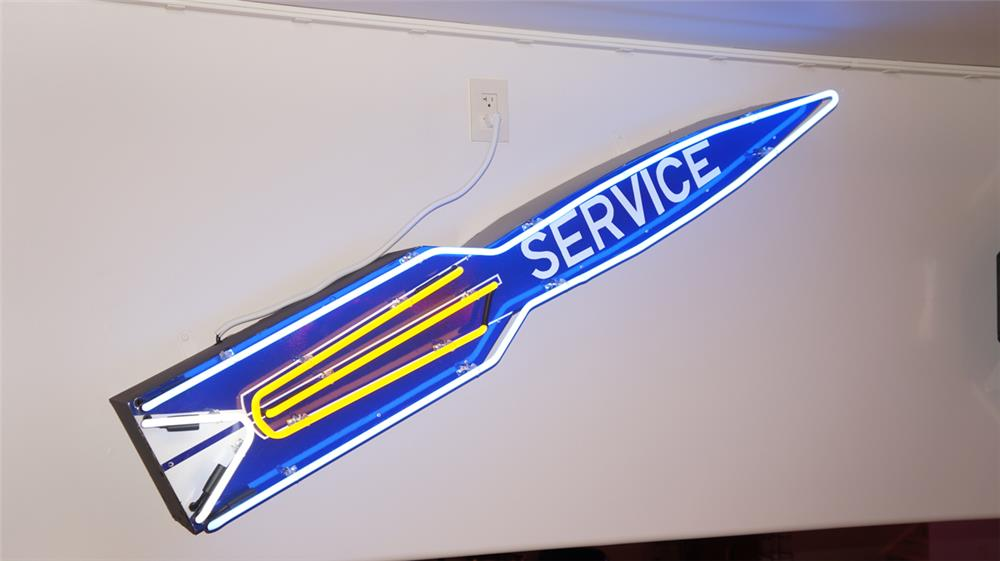 1950's Oldsmobile Service single-sided porcelain rocket neon sign. - Front 3/4 - 179464