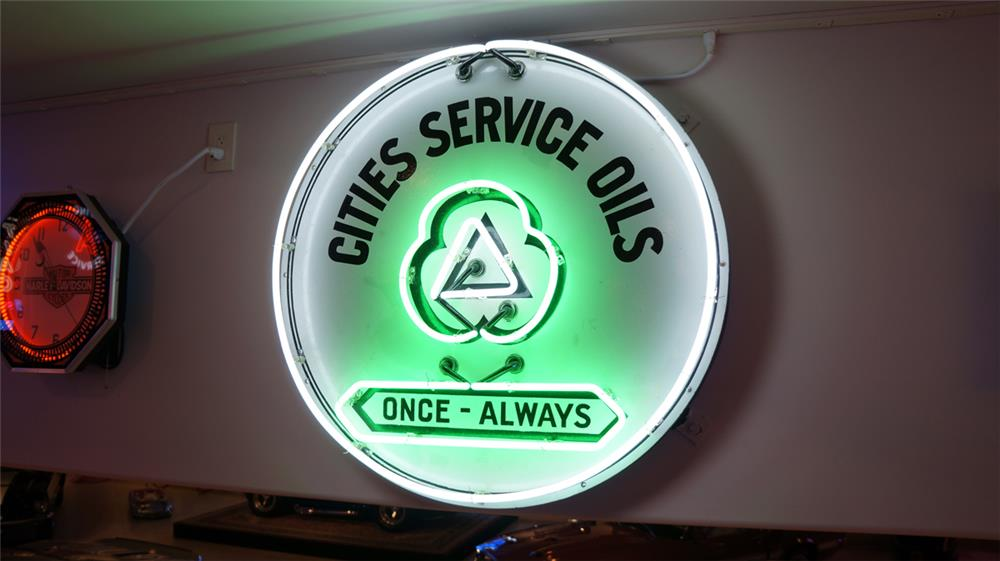 1930's Cities Service Oils single-sided porcelain service station sign with neon. - Front 3/4 - 179466