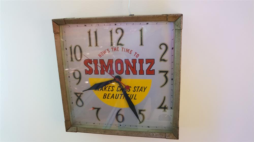 "1930's Simoniz ""Makes Cars Stay Beautiful"" electric automotive garage clock. - Front 3/4 - 179467"