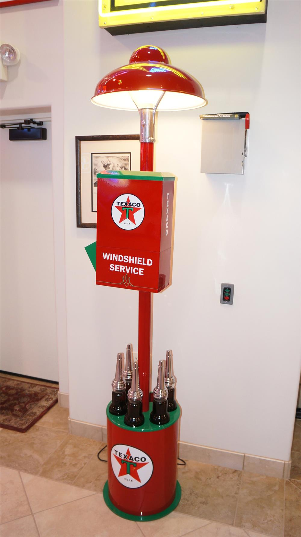 Neat custom built Texaco fuel island light pole with windshield service. - Front 3/4 - 179470