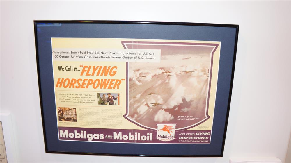 1944 Mobilgas Flying Horsepower World War II U.S. Army Air Force framed advertisement. - Front 3/4 - 179472