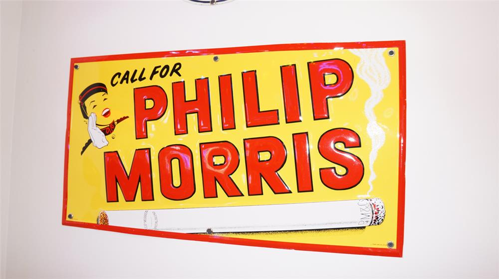 N.O.S. 1930's Phillip Morris single-sided embossed tin general store sign - Front 3/4 - 179473