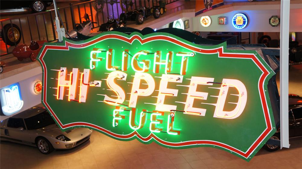 1930's Hi-Speed Flight Fuel restored double-sided neon porcelain airport hanger sign - Front 3/4 - 179476