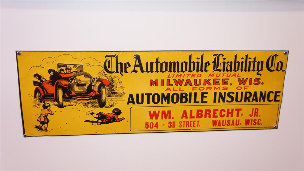 1918 Automobile Liability Company single-sided embossed tin sign - Front 3/4 - 179478