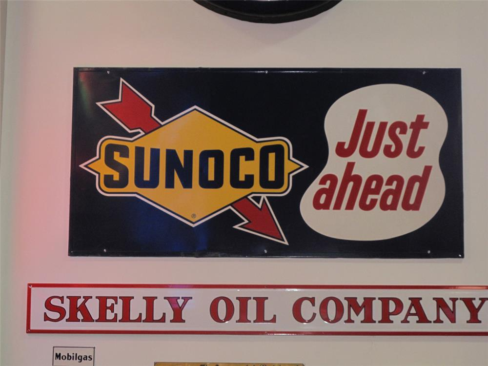 Large 1965 Sunoco Just Ahead single-sided tin wood framed back service station sign with logo. - Front 3/4 - 179486