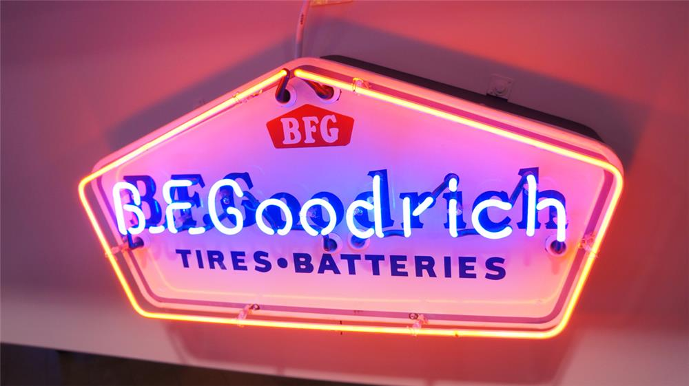 Wonderful 1950's B.F. Goodrich Tires-Batteries single-sided porcelain with neon. - Front 3/4 - 179494