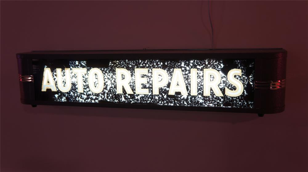 "1930's-40's Automotive Garage ""Auto Repairs"" single-sided light-up sign with art deco influence. - Front 3/4 - 179498"