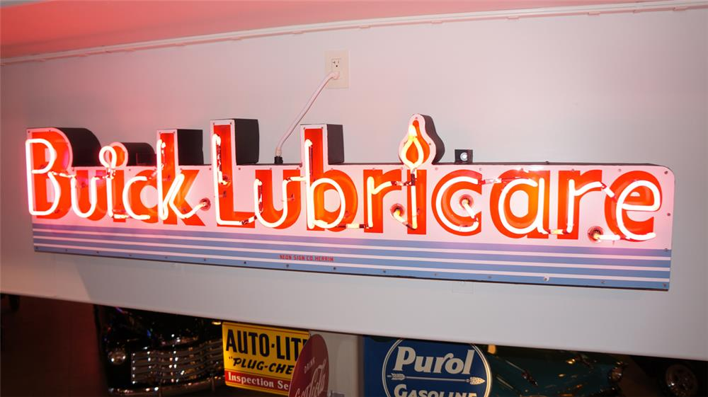 Impressive all original 1940's Buick Lubricare single-sided neon porcelain auto dealership sign. - Front 3/4 - 179500