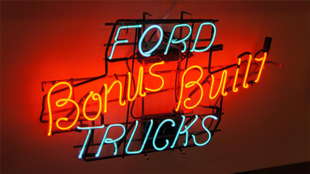1950's Ford Bonus Built Trucks dealership showroom neon sign. - Front 3/4 - 179504