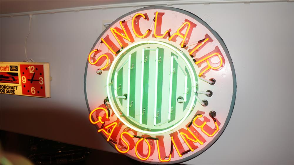 1930's Sinclair Gasoline single-sided porcelain with neon service station sign. - Front 3/4 - 179508
