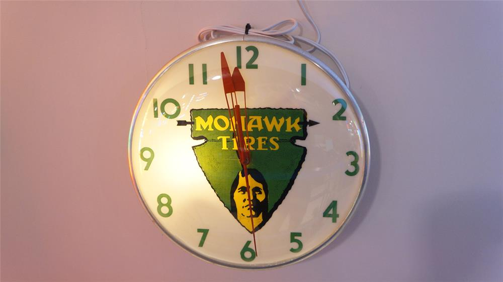 Sharp 1950's Mohawk Tires glass faced light-up service station clock. - Front 3/4 - 179510