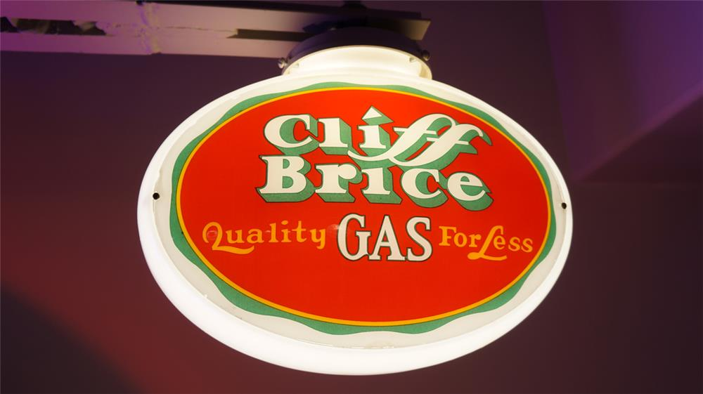 Impressive Cliff Brice Gasoline oval shaped milk glass bodied gas pump globe. - Front 3/4 - 179521