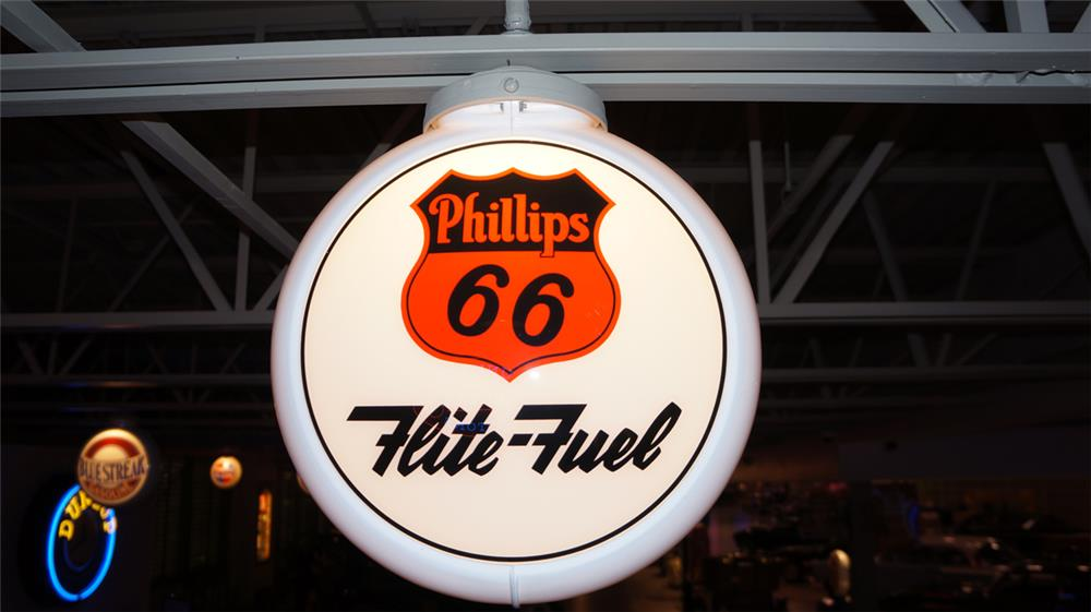 Highly desirable 1950's Phillips 66 Flite-Fuel gas pump globe in Capcolite body. - Front 3/4 - 179522