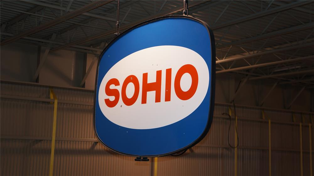 Large 1960's Sohio (Standard Oil of Ohio) double-sided porcelain service station sign. - Front 3/4 - 179528