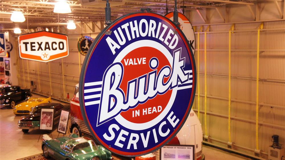 Desirable late 1940's-early 50's Authorized Buick Valve In Head Service double-sided porcelain dealership sign. - Front 3/4 - 179529