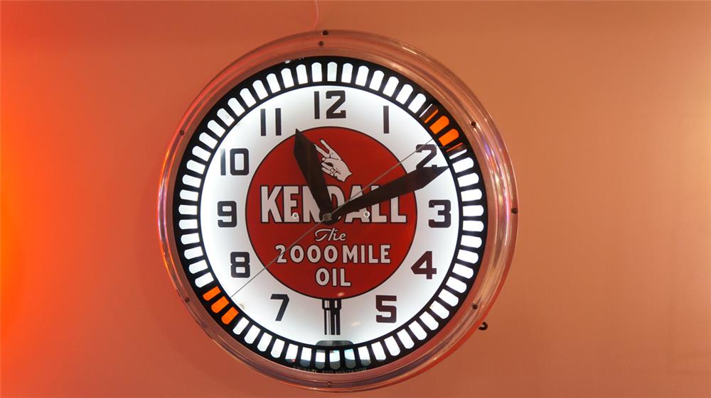 """All original 1930's Kendall """"The 2000 Mile Oil"""" neon service station clock with animation wheel by Swihart. - Front 3/4 - 179539"""