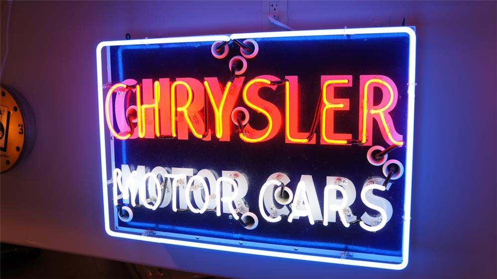Good looking 1930's Chrysler Motor Cars single-sided porcelain with neon dealership sign. - Front 3/4 - 179545