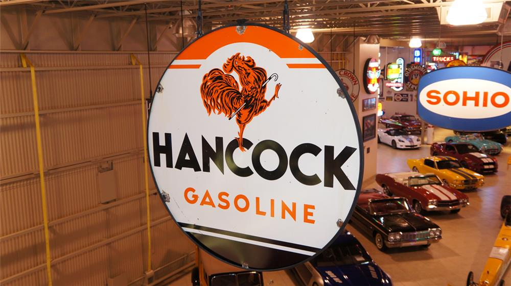 Hard to find Hancock Gasoline double-sided porcelain service station sign with Rooster graphic. - Front 3/4 - 179558