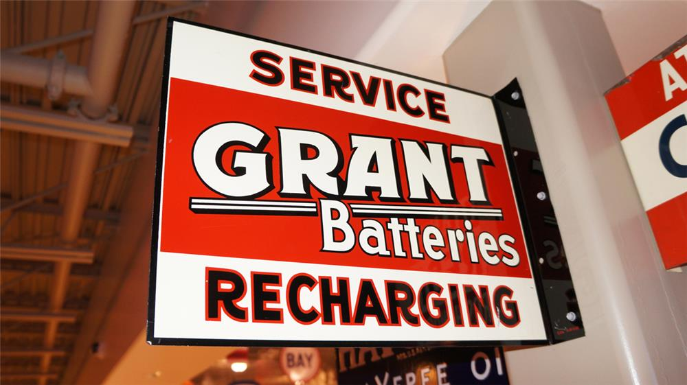 "N.O.S. 1940's-50's Grant Batteries ""Service Recharging"" double-sided tin service station flange sign. - Front 3/4 - 179562"