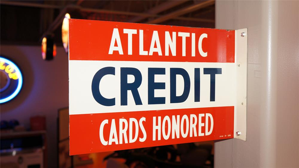 1939 Atlantic Credit Cards Honored double-sided porcelain service station flange sign. - Front 3/4 - 179563