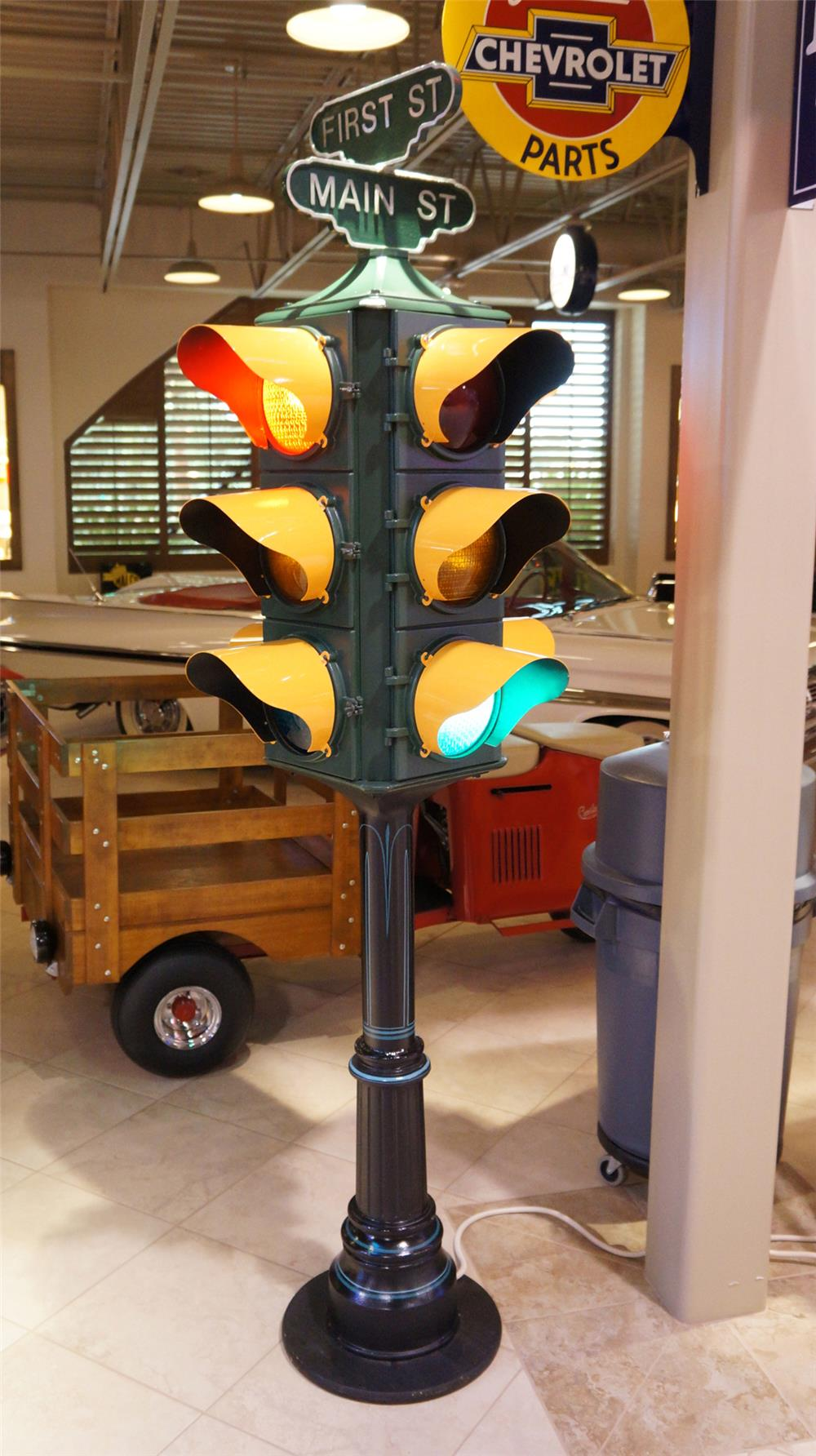 Choice street lamp featuring First-Main street markers on cast iron base. - Front 3/4 - 179572