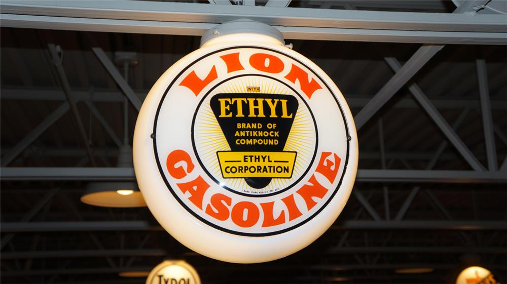 1940's-50's Lion Gasoline with Ethyl milk glass gas pump globe. - Front 3/4 - 179588