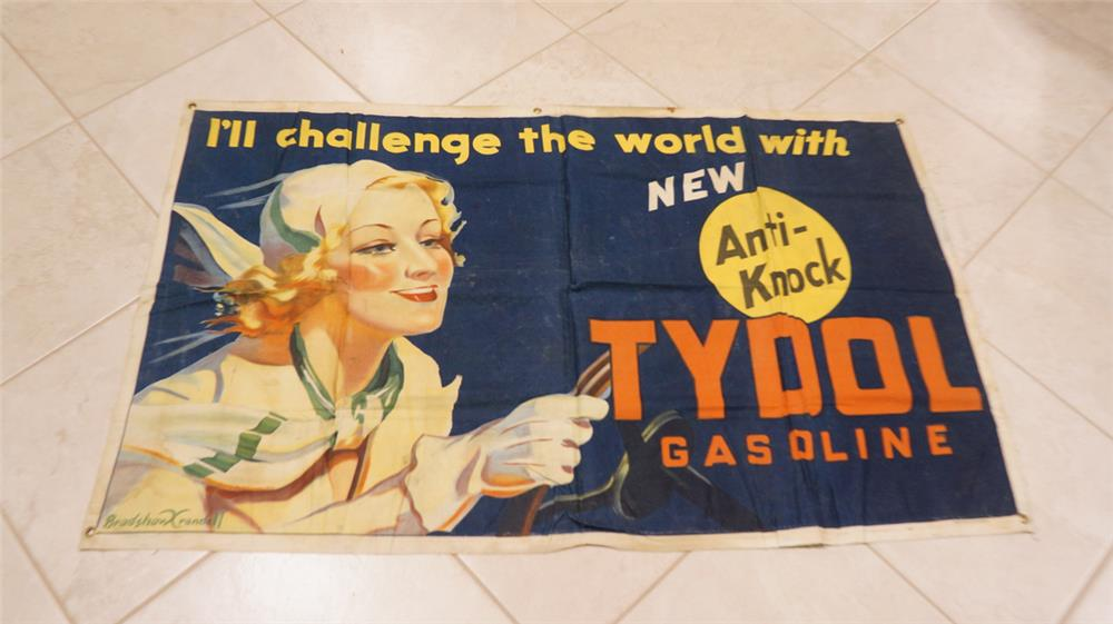 Incredible 1930's Tydol Anti-Knock Gasoline service station canvas banner with wonderful artwork of a period lady driver. - Front 3/4 - 179607