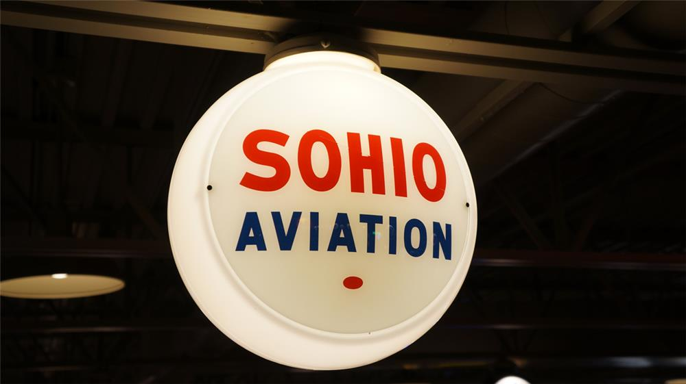 Uncommon 1940's Sohio (Standard Oil of Ohio) Aviation Gasoline gas pump globe in a milk glass body. - Front 3/4 - 179618