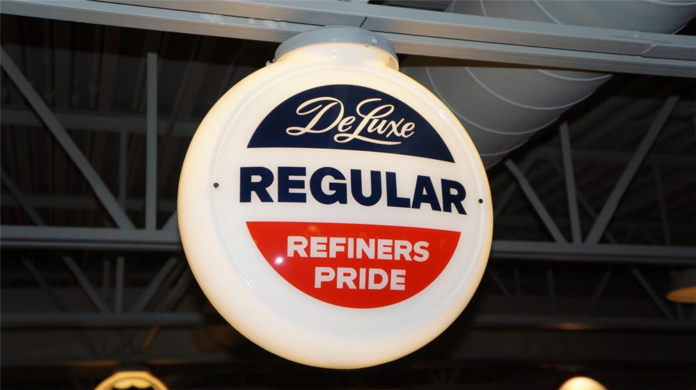 "1950's Refiners Pride ""Deluxe Regular"" gas pump globe in a narrow milk glass body. - Front 3/4 - 179622"