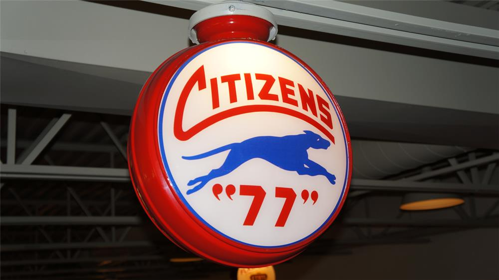 1930's Citizens 77 Gasoline with greyhound dog logo metal bodied gas pump globe. - Front 3/4 - 179633