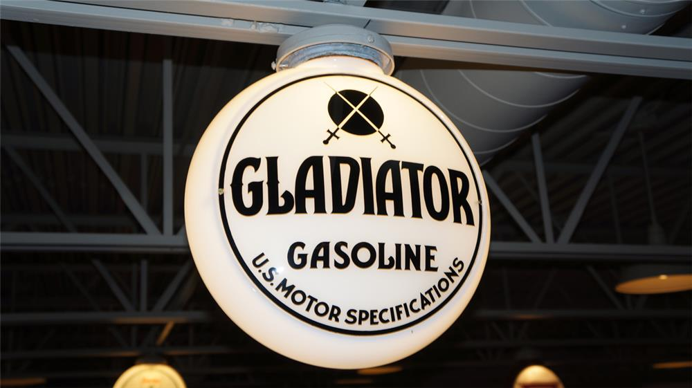 "Circa 1930's-40's Gladiator Gasoline ""U.S. Motor Specifications"" milk glass gas pump globe - Front 3/4 - 179635"