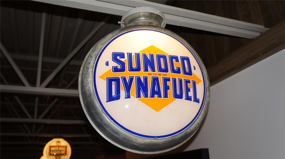 Sharp 1930's-40's Sunoco Dynafuel metal bodied gas pump globe. - Front 3/4 - 179647