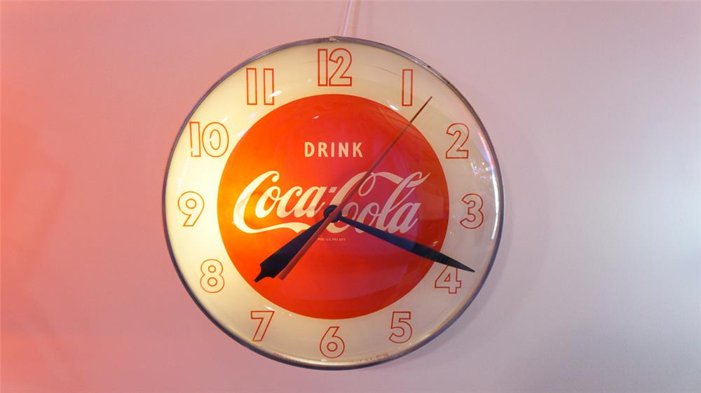 Late 1940's Drink Coca-Cola glass faced light-up diner clock. - Front 3/4 - 179660