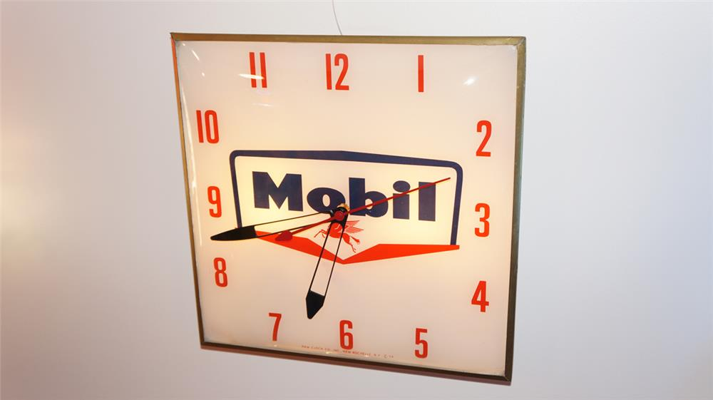 1959 Mobil Oil glass faced light-up station clock by Pam. - Front 3/4 - 179665
