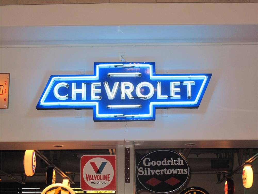 Rare 1950's Chevrolet Automobiles restored neon porcelain bow-tie sign marked Texlite - Front 3/4 - 179667