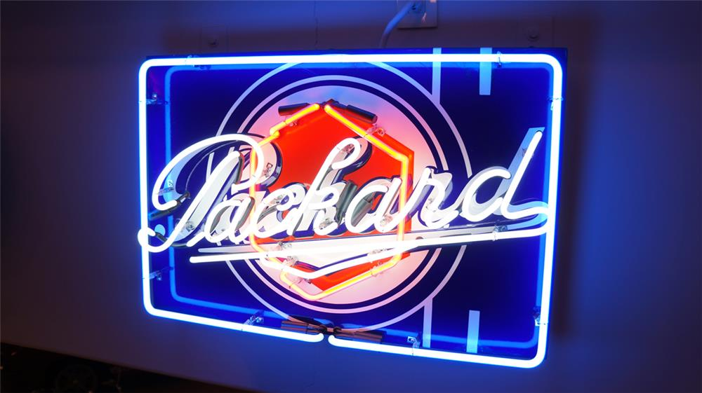 1930's Packard Automobiles single side neo porcelain dealership sign with Packard logo. - Front 3/4 - 179673