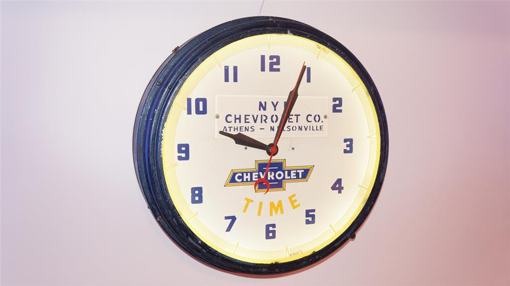"Very nice 1930's Chevrolet ""Time"" neon dealership showroom clock. - Front 3/4 - 179676"
