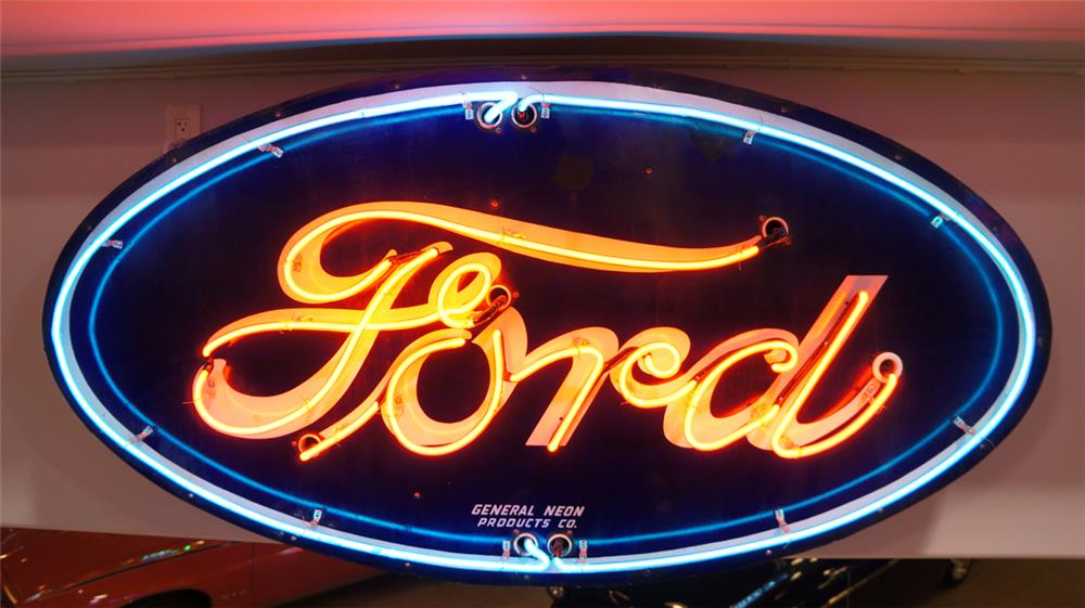 1930's Ford Automobiles single-sided neon porcelain dealership sign. - Front 3/4 - 179683