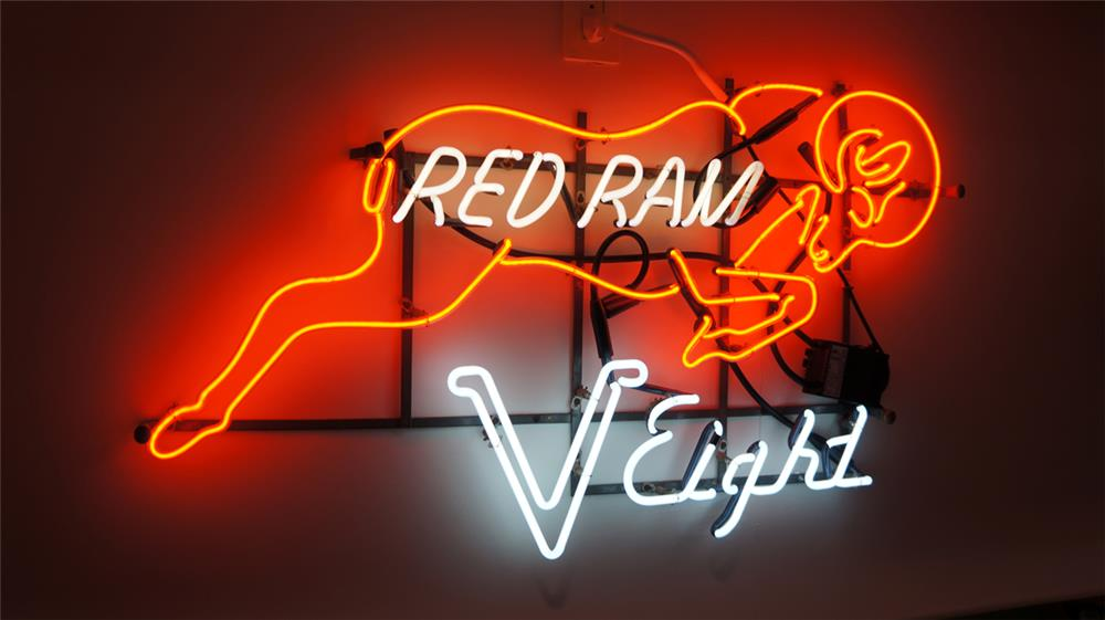 Extraordinary late 1950's Dodge Red Ram V-8 neon dealership showroom sign. - Front 3/4 - 179685